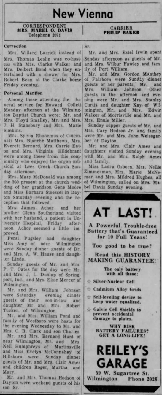 1954 New Vienna (Ohio) News -Oct.5