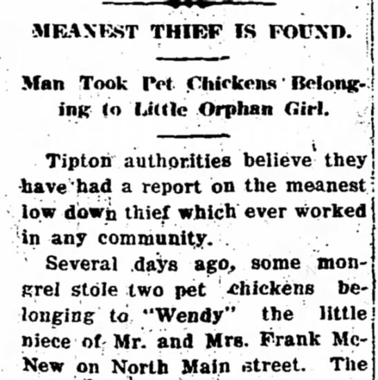 """Meanest Thief"" Stole Chickens from Orphan Girl"