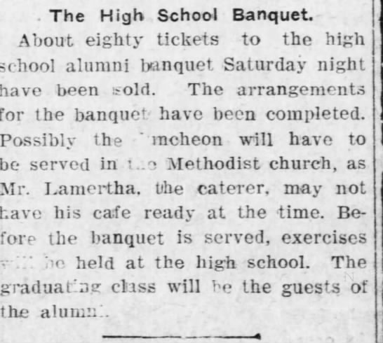 8 May 1908, pg 5 - Lamertha Cafe catered High School Banquet