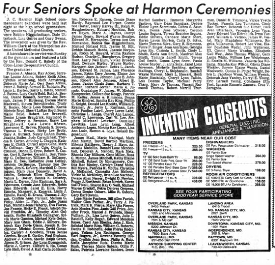 Clipping From Kansas City Times, JCH class of 1976.  List of Graduates 22 May 1976