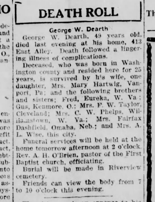 George W. Dearth - Obituary The Evening Review (East Liverpool, OH) 9 Jan 1925