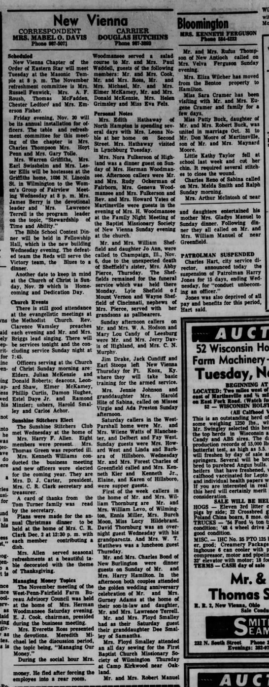 1964 New Vienna (Ohio) News -Nov.13