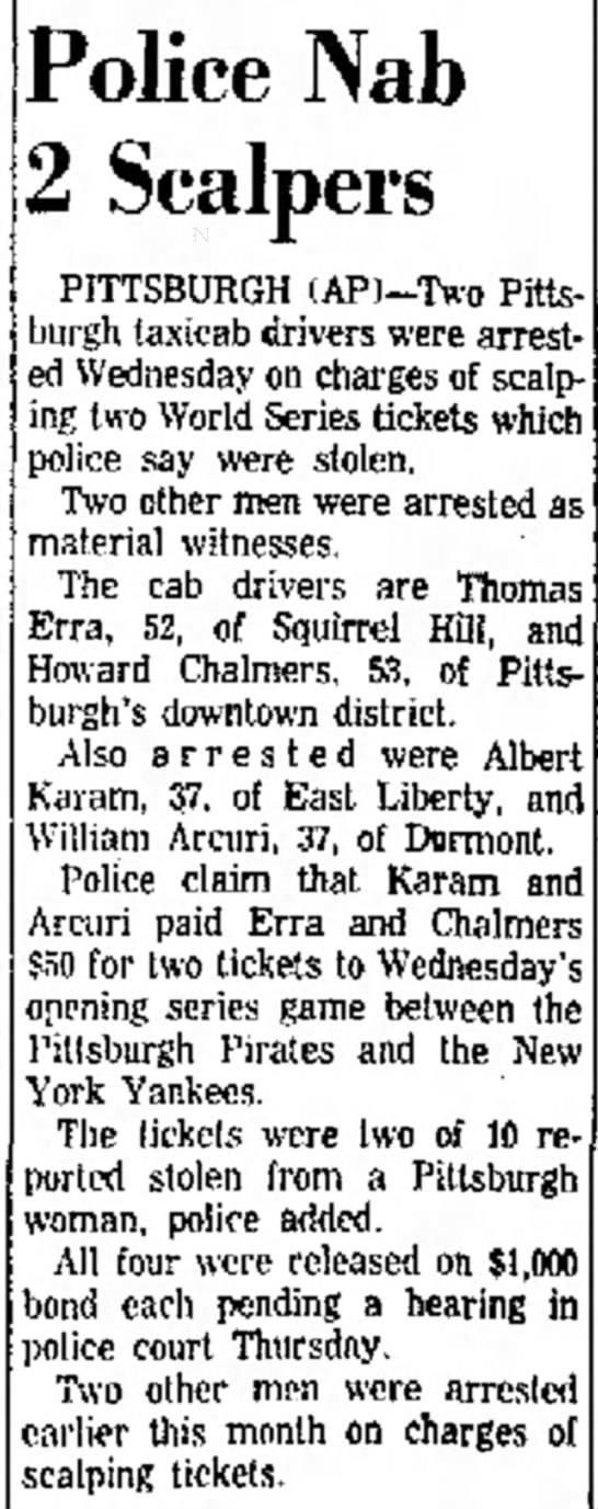 Erra, Thomas, newspaper article from The Uniontown (PA) Morning Herald, 06 Oct 1960, p. 17