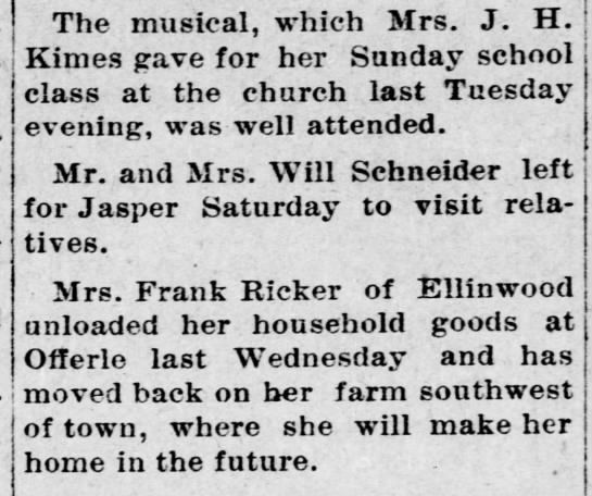 Ricker, Mrs Frank - return to Offerle - Kinsley Mercury - 12 Apr 1911, Wed - pg 8