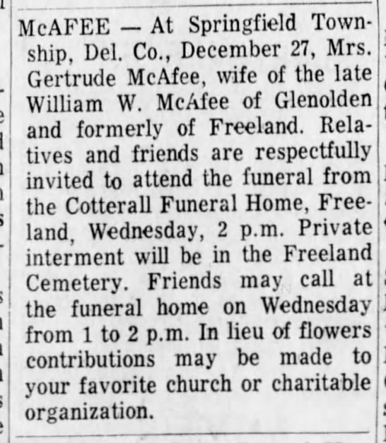 Gertrude Fairchild-McAfee death