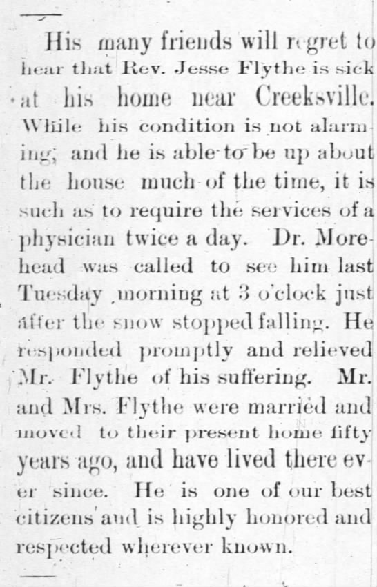 Rev. Jesse Flythe Illness Article from 20 Feb. 1896 issue of The Patron and Gleaner, Lasker, NC