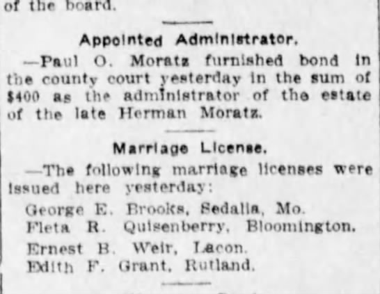 Brooks, George & Fleta Quisenberry Marriage License