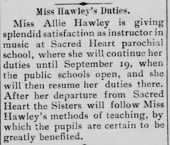 Miss Allie Hawley teaches Music at Sacred Heart