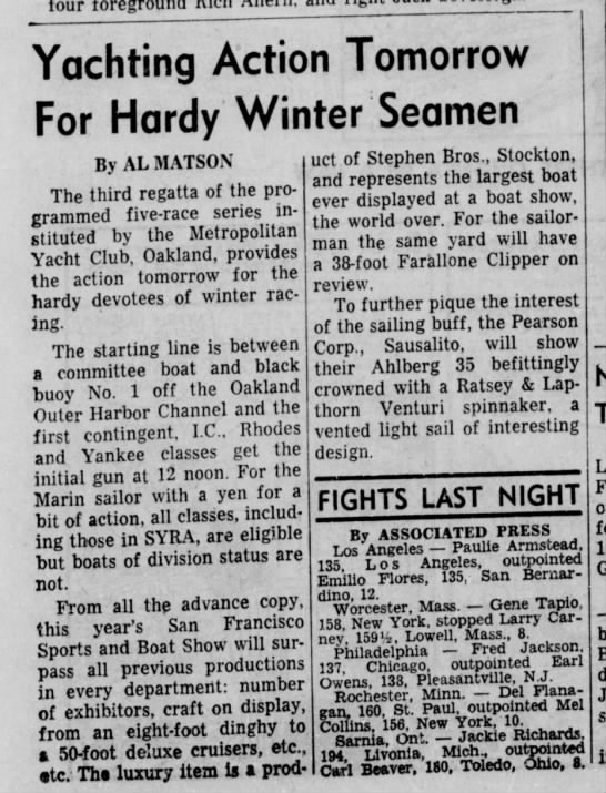 "27 Jan 1962 Daily Ind Jnl ""Yachting Action Tomorrow for Hardy Winter Seamen"""