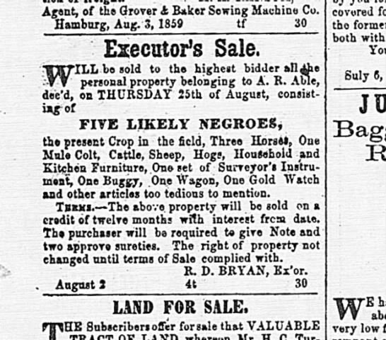 A.R. Able Executor's Sale - Negroes being auctioned - Green & George among them.