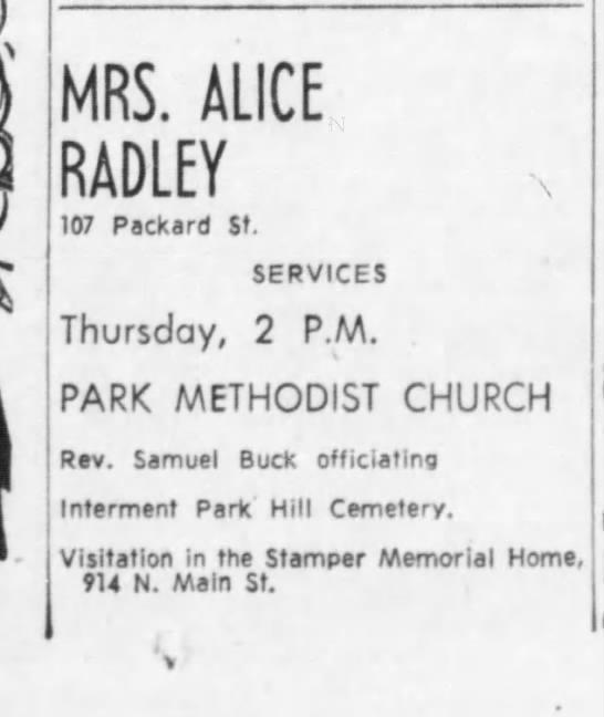 Alice Radley funeral notice 21 Oct 1964