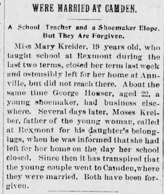rexmont - mary kreider 19yr old school teacher - elopes to new jersey to marry - George howser