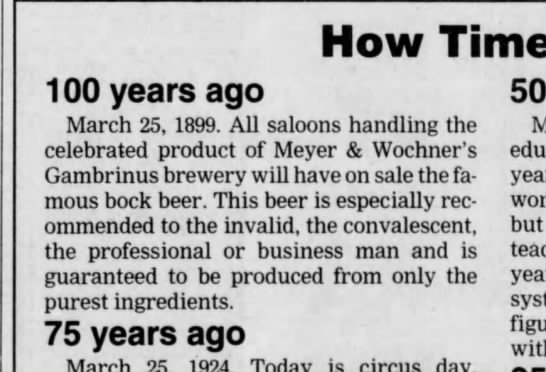 Brewery 100 years ago ad 25 march 1999