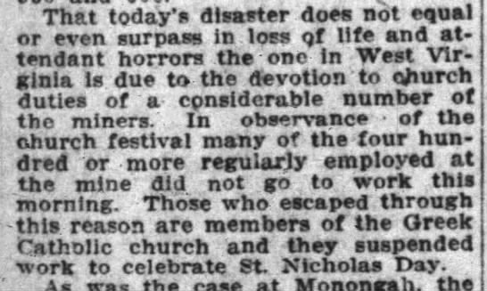 Hundreds of miners survive disaster because they observed St. Nicholas Day