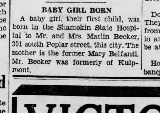 Marlin Becker and wife have 1st baby, a girl Oct 1938