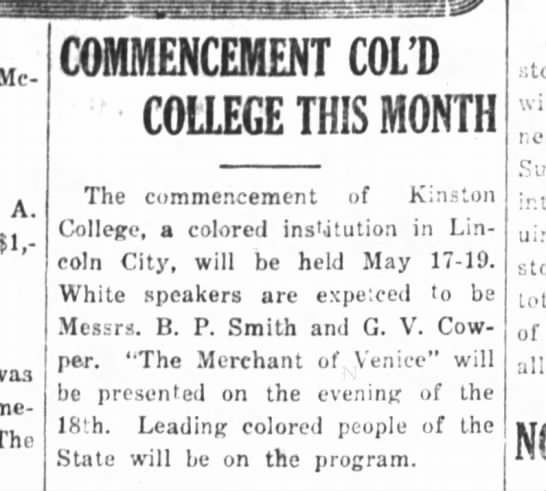 Kinston History  Kinston College Commencement Kinston Free Press May 13. 1916