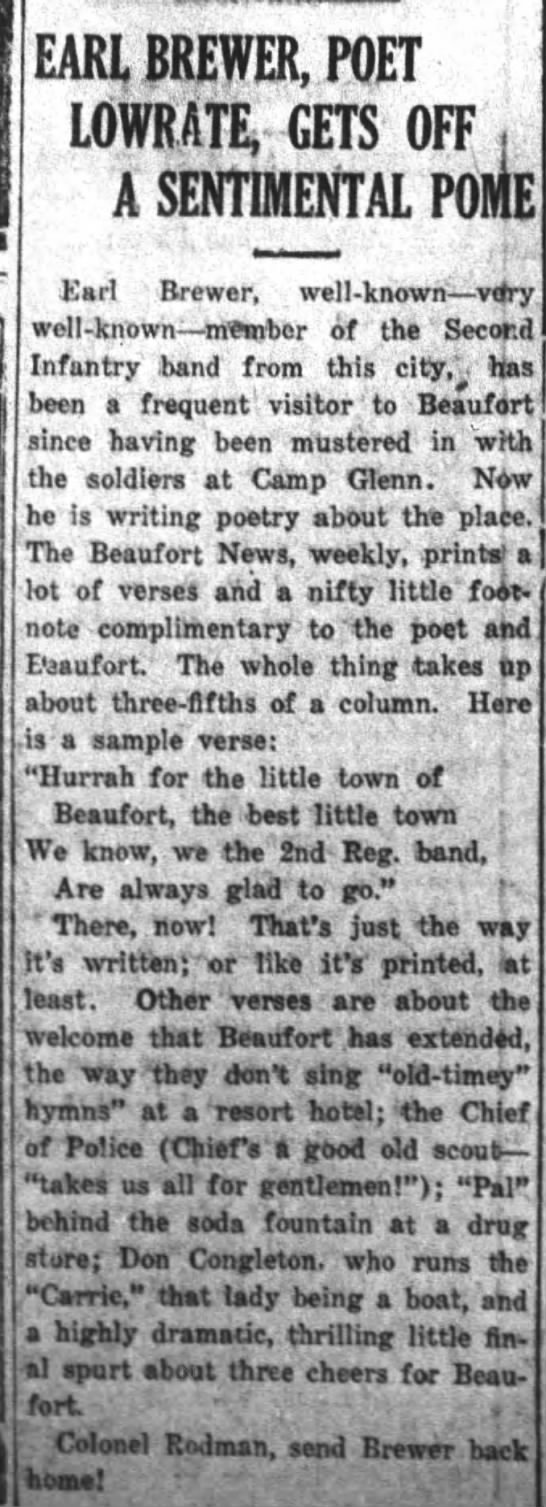 The Daily Free Press (Kinston, NC)   Monday, 21 August 1916   Earl Brewer, poet