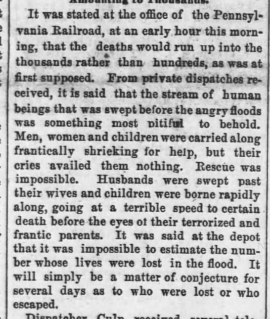 Early estimates of the death toll of the Johnstown Flood of 1889