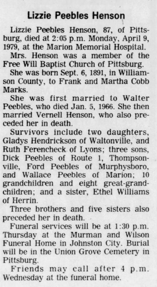 Lizzie Peebles Henson Death and Burial