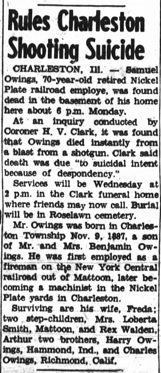 Samuel Owings, The Journal Gazette, Mattoon, Illinois, Tuesday, April 22, 1958, Page 1