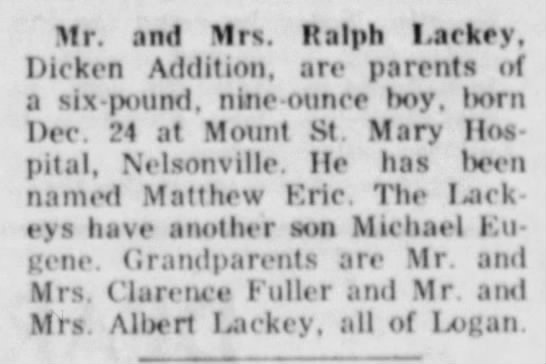 Matthew Eric Lackey birth announcement Dec 1958