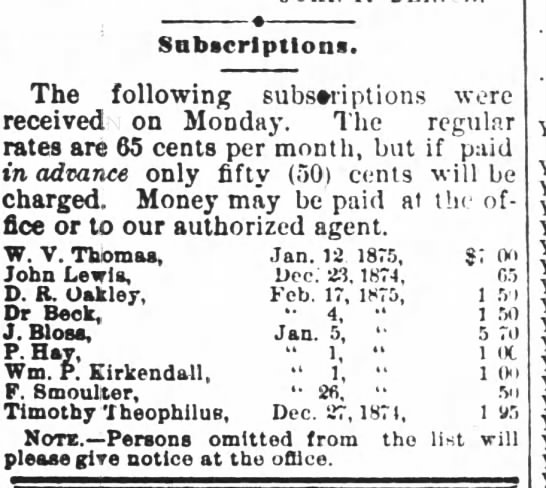John Lewis Daily Record of the Times, Wilkes-Barre, PA Subscription 29 Dec 1874