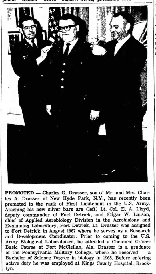 Drasser, Charles Promoted (The Frederick Md News 05-27-68)