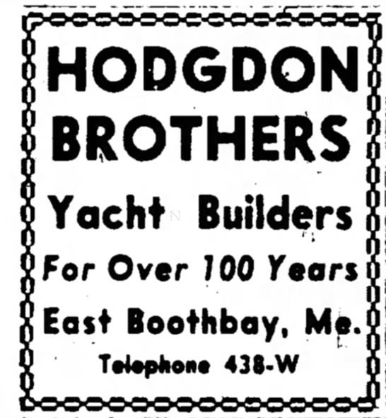 Hodgdon Boatbuilding Advertisement