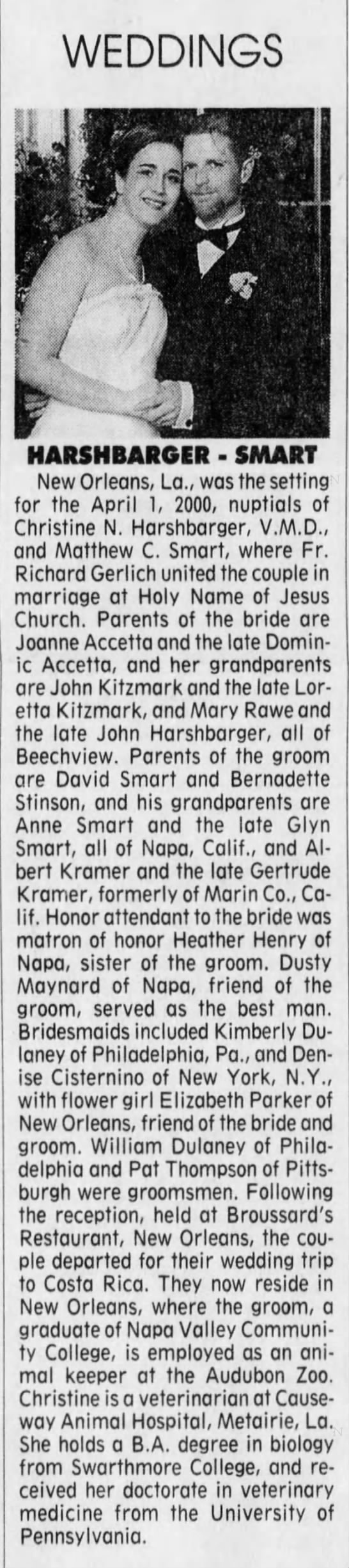 2001 Harshbarger & Smart Wedding