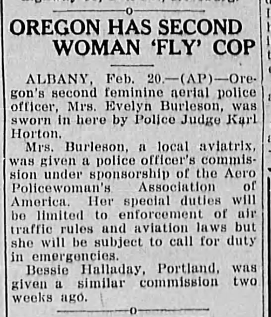 Second woman aerial police officer.