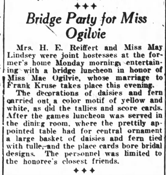 Mae Ogilvie honored at bridge party