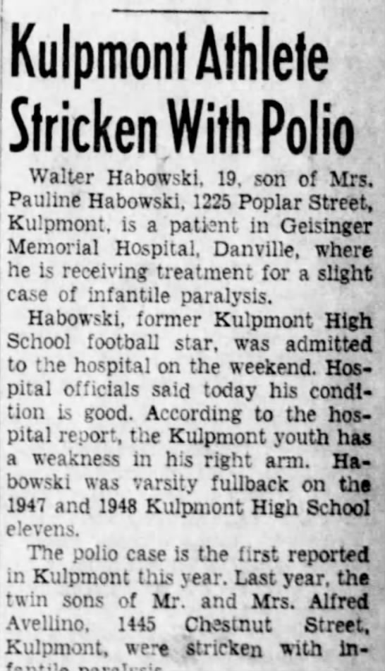 1950,Sept. 19....Walter Habowski stricken with polio.