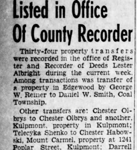 1950, April 22.....Chester & Catherine Habowski purchase house at 1241 Poplar St. Kulpmont.