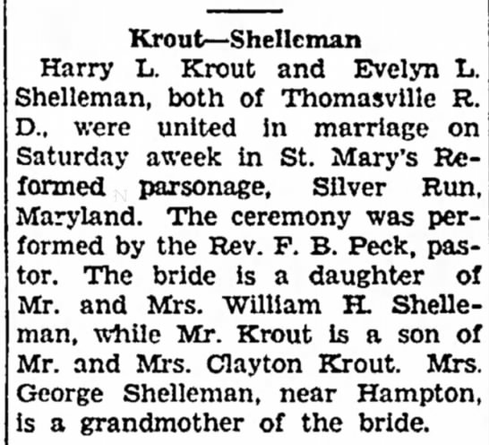 Harry L Krout and Evelyn L Shelleman marriage-Jul 1933
