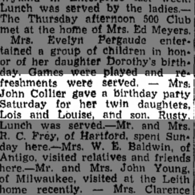 birthday party for Collier twins and Rusty. 1946