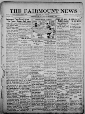 The Fairmount News from Fairmount, Indiana on December 12, 1921 · Page 1