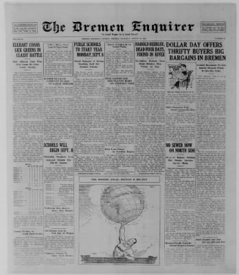 The Bremen Enquirer from Bremen, Indiana on August 28, 1924 · Page 1