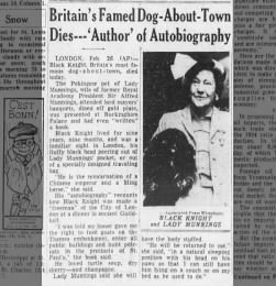 Black Knight (famous dog) passes away Feb. 26, 1955