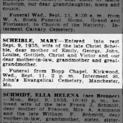 Scheible, Mary-Obit- St. Louis Post-Dispatch 10 Sep 1935 page 4C