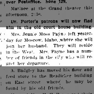 Jennie Moss Payne to go to Idaho - The Iola Register 24 November 1904 Page 5