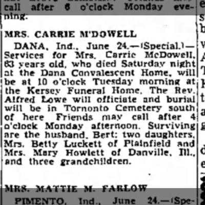 Carrie McDowell Obit