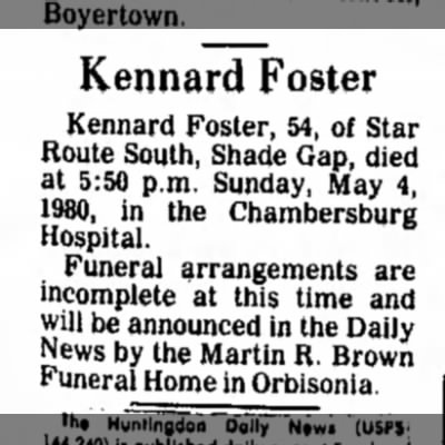 Kennard Foster dies-TDN-p.2-5 May 1980