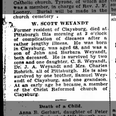 Winfield Scott Weyandt Obit - 