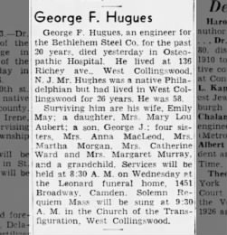 George Hugues son of John & Catherine Hugues: obituary