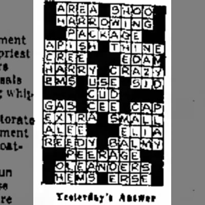 Crossword Answers - April 1, 1910