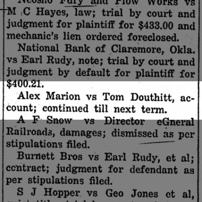 Tom Douthitt court case. June 19, 1919. Later the courts found in Tom's favor.