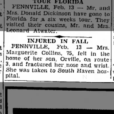 Marguerite Collins injured from fall