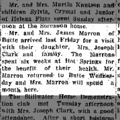 James and Rose Marron visit Rose and Joe in Kalispell July 1930