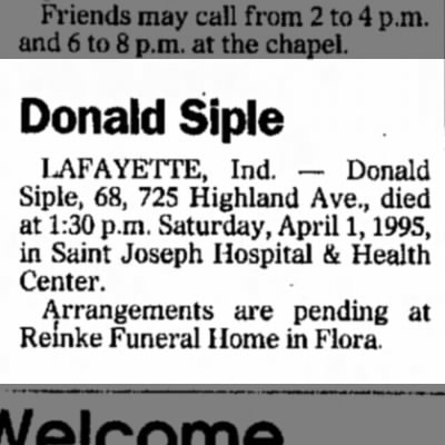 Notice of Death Donald Siple