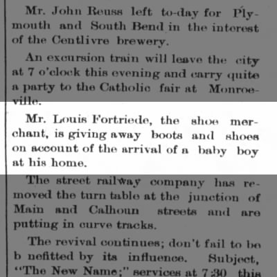 Louis Fortriede, The Ft.Wayne Sentinel, Th. Nov. 15, 1888 p.1